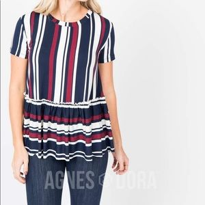 RELAXED RUFFLE TEE NAVY BURGUNDY STRIPED
